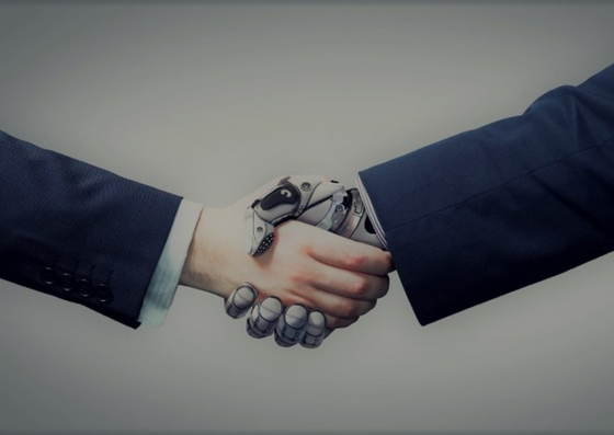 human and cyborg shaking hands AI Big data technology